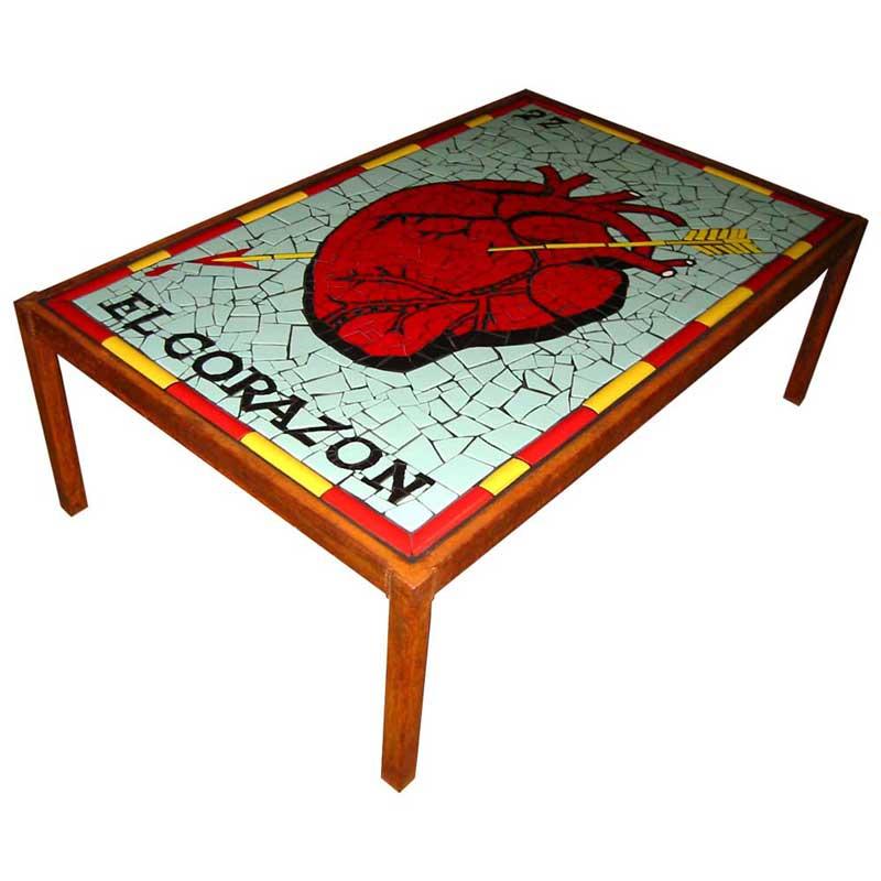Mosaic table el corazon loteria card