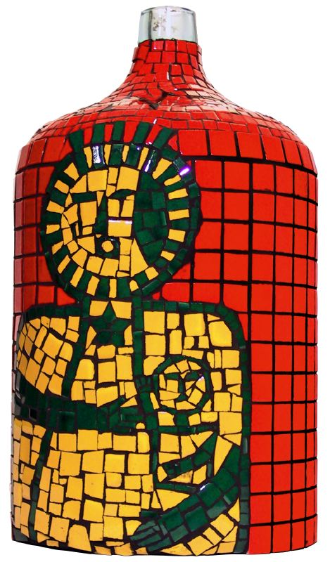 Libation Bottle for Danthor, 2001 Ceramic tile, glass