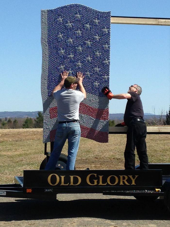 Old Glory bottle cap flag art progress