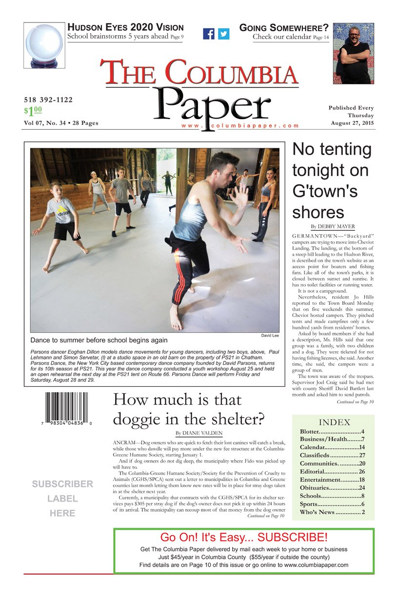 The Columbia Paper, front page aug 27 2015