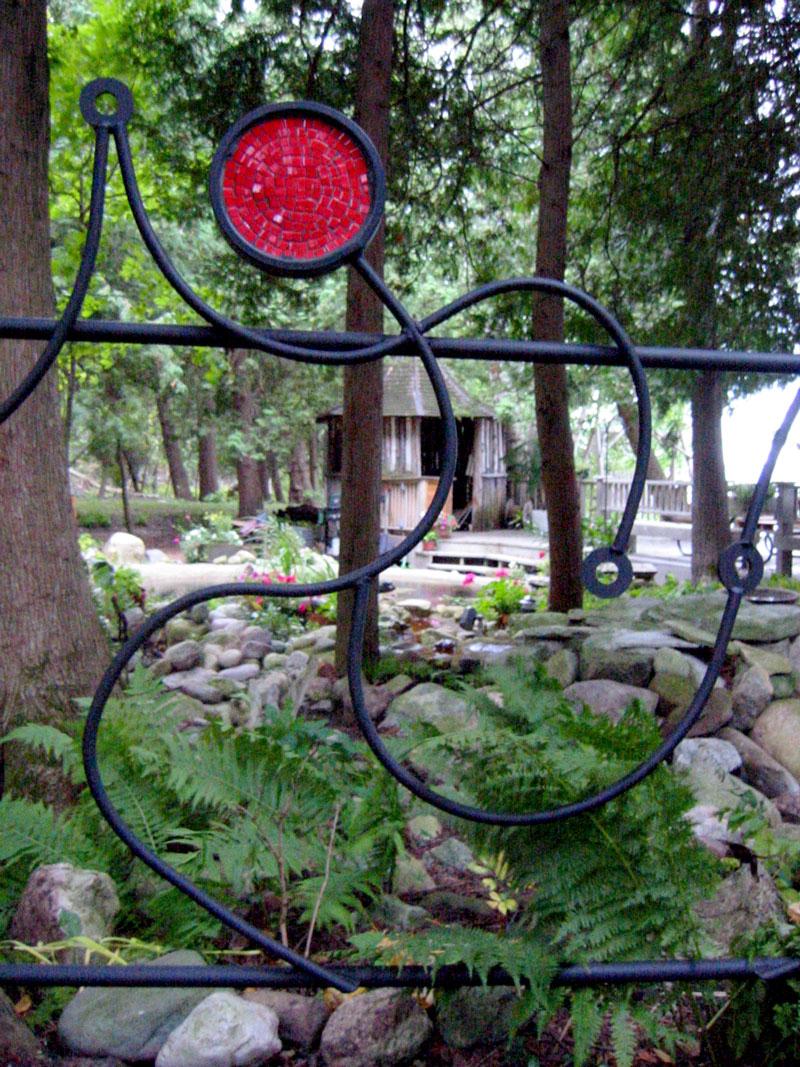 Acrobat Fence, 2002 steel, Durock, porcelain, paint