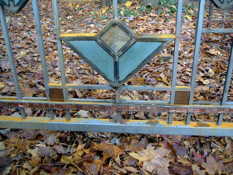 Frank Lloyd Wright Styled Fence in Steel, Slate, Copper + Glass