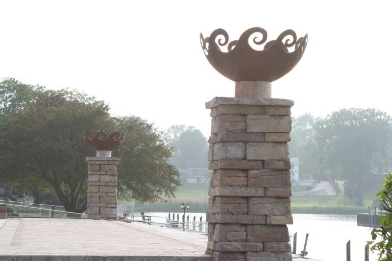 Waves O' Fire 37 inch Sculptural Firebowl™ on pillars Port Huron, MI