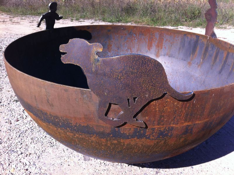 dog and chidren design firepit