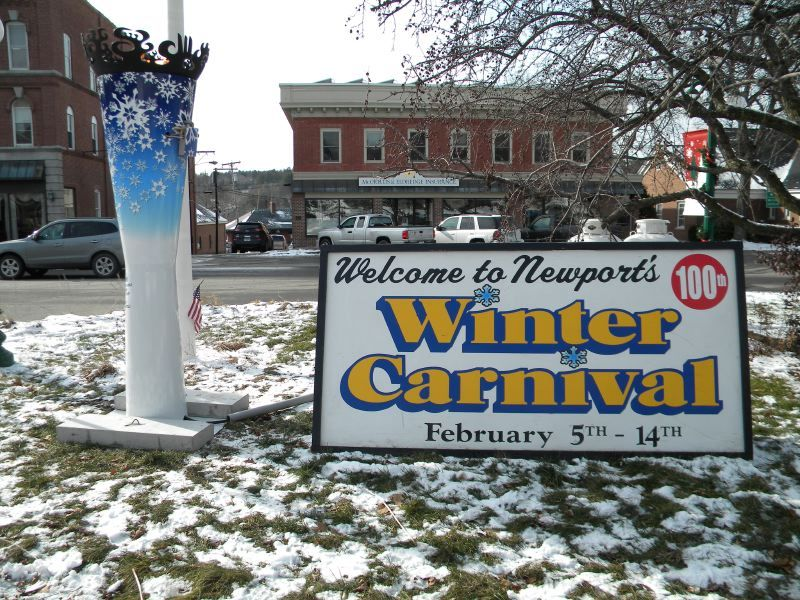 A Great Bowl O' Fire torch to Celebrate the 100th anniversary of Newport Winter Carnival
