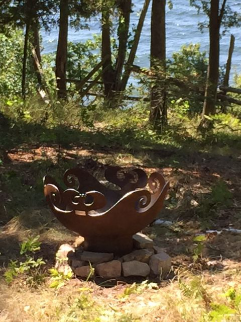 Custom firebowl with waves and phoenix design