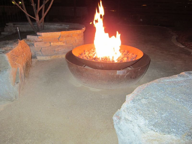 "Custom Fire Feature double caldera ""floating flame"" Firebowl"