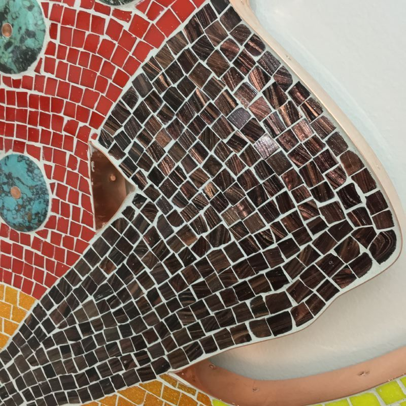 La Siren III Mosaic in glass, metal, stone and emerald (detail)