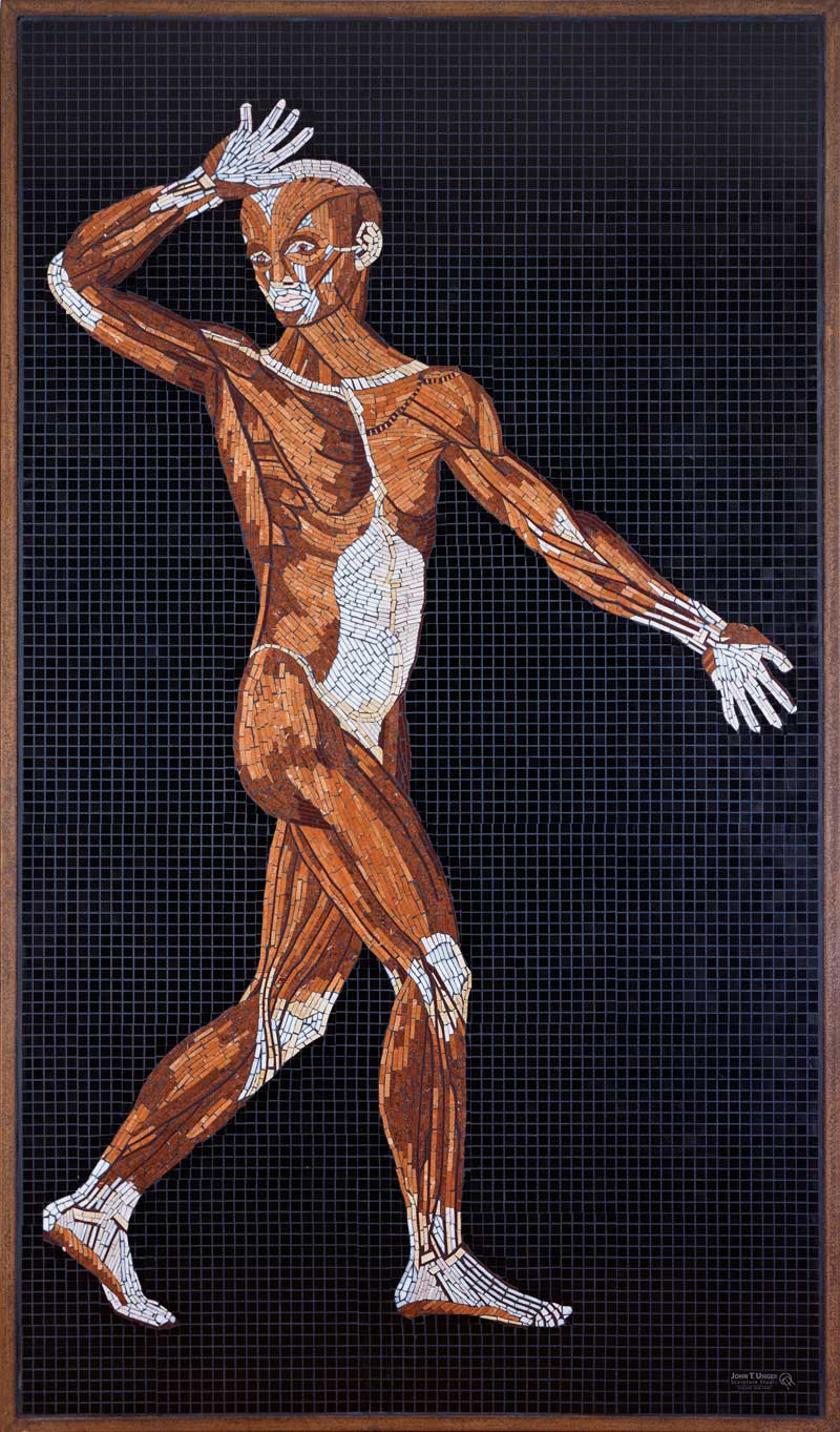 Marble Mosaic of Table 30 of Eustachi's Tabulae anatomicae, finished, in frame.