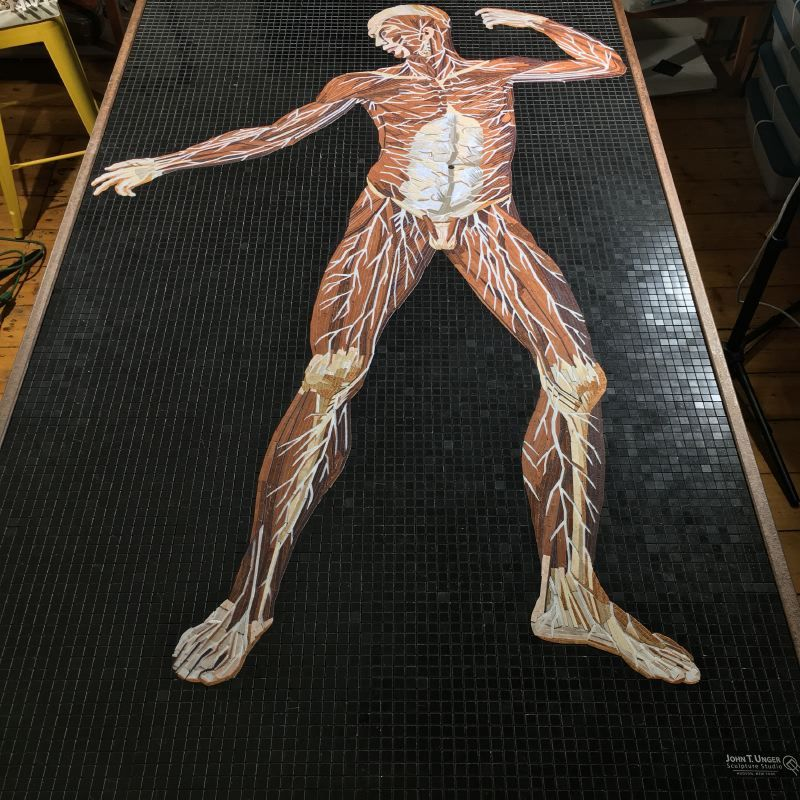 Marble Mosaic of Table 21 of Eustachi's Tabulae anatomicae, finished and ready to install.