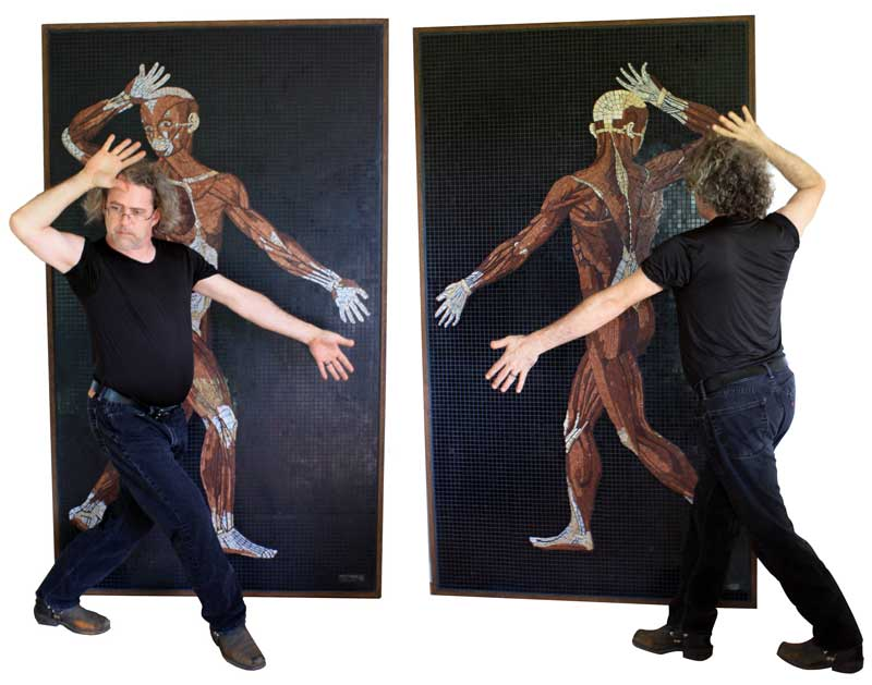 Artist John T. Unger with marble mosaic of eustachi's anatomical drawings