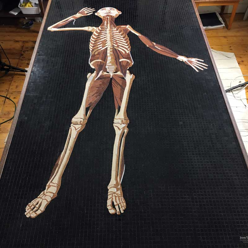 Marble Mosaic of Table 38 of Eustachi's Tabulae anatomicae, in progress