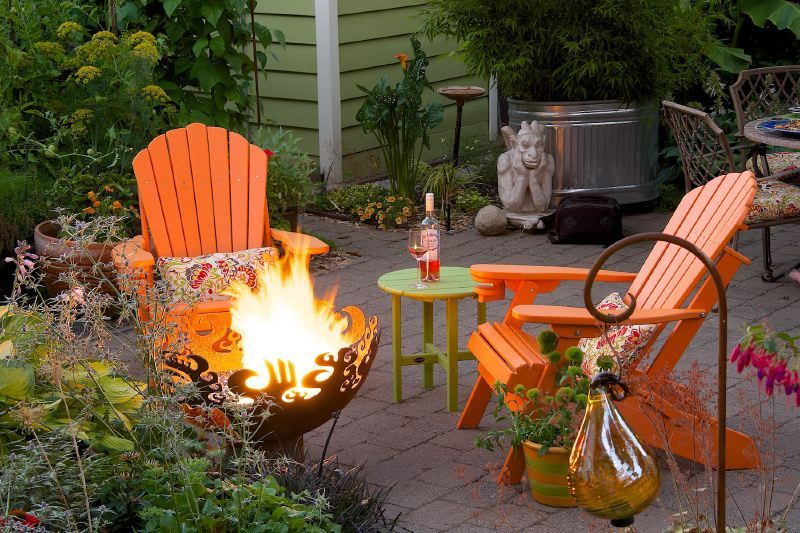 Great Bowl O' Fire Sculptural Firebowl and deck furniture