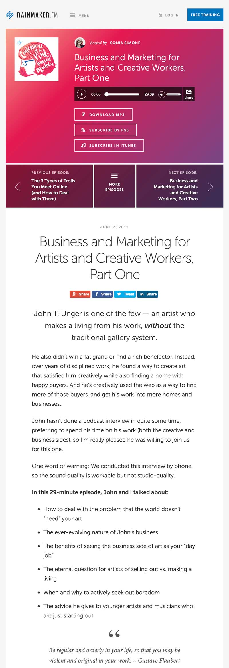 """Simone, Sonia. """"Business and Marketing for Artists and Creative Workers, Part One."""" The Confessions of a Pink-Haired Marketer, Rainmaker.FM"""