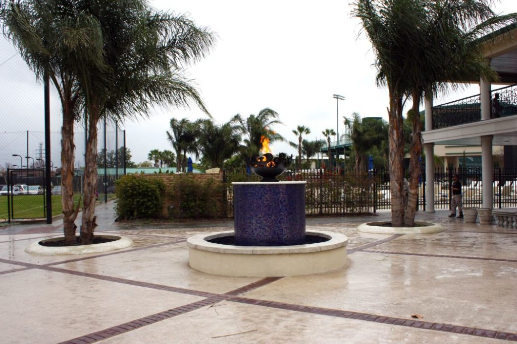Fire Feature and Fountain at Club Westside in Houston, Texas