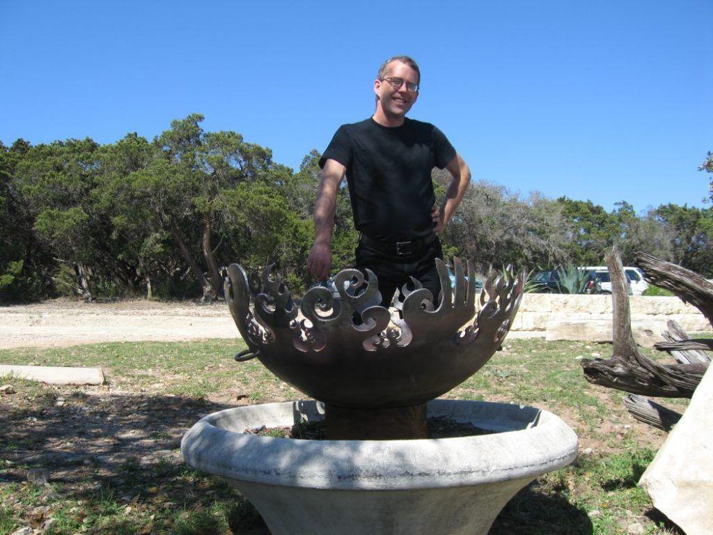 Great Bowl O' Fire Sculptural Firebowl at Wizard Academy, Austin, Texas