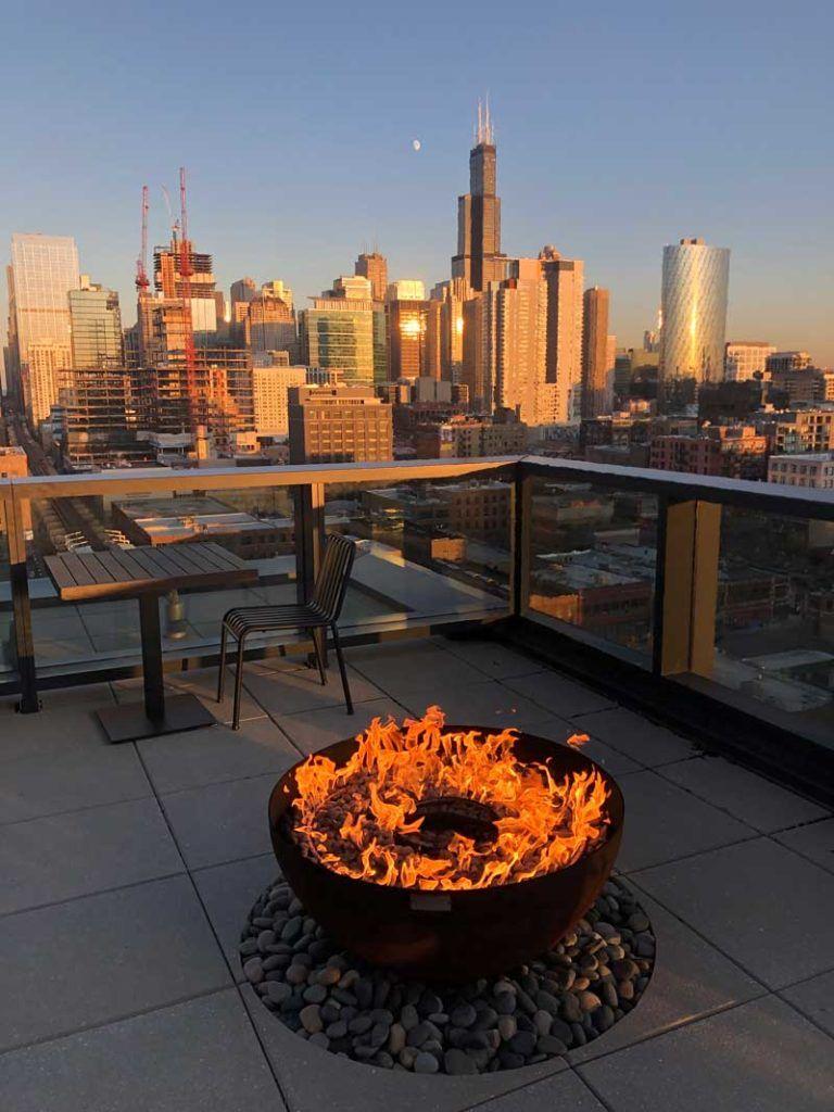 Big Bowl O' Zen fire feature Google HQ Chicago roof deck