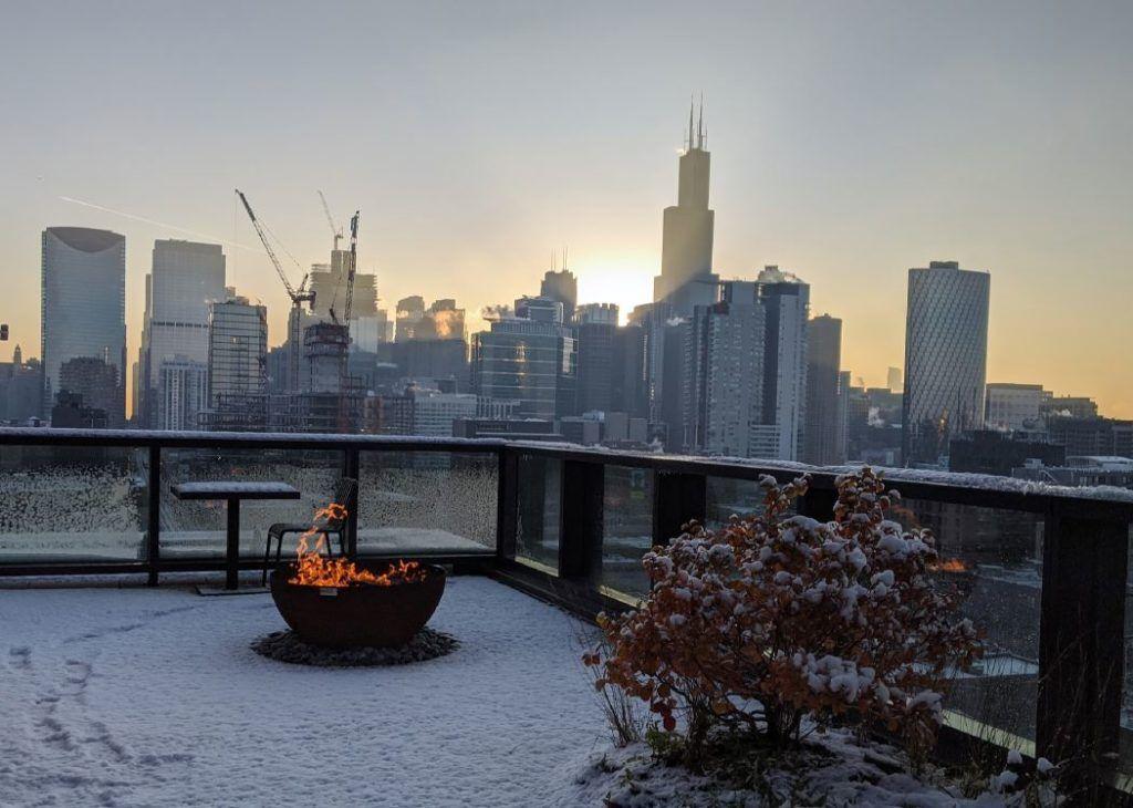 Big Bowl O' Zen Sculptural Firebowl Google HQ Chicago roof deck