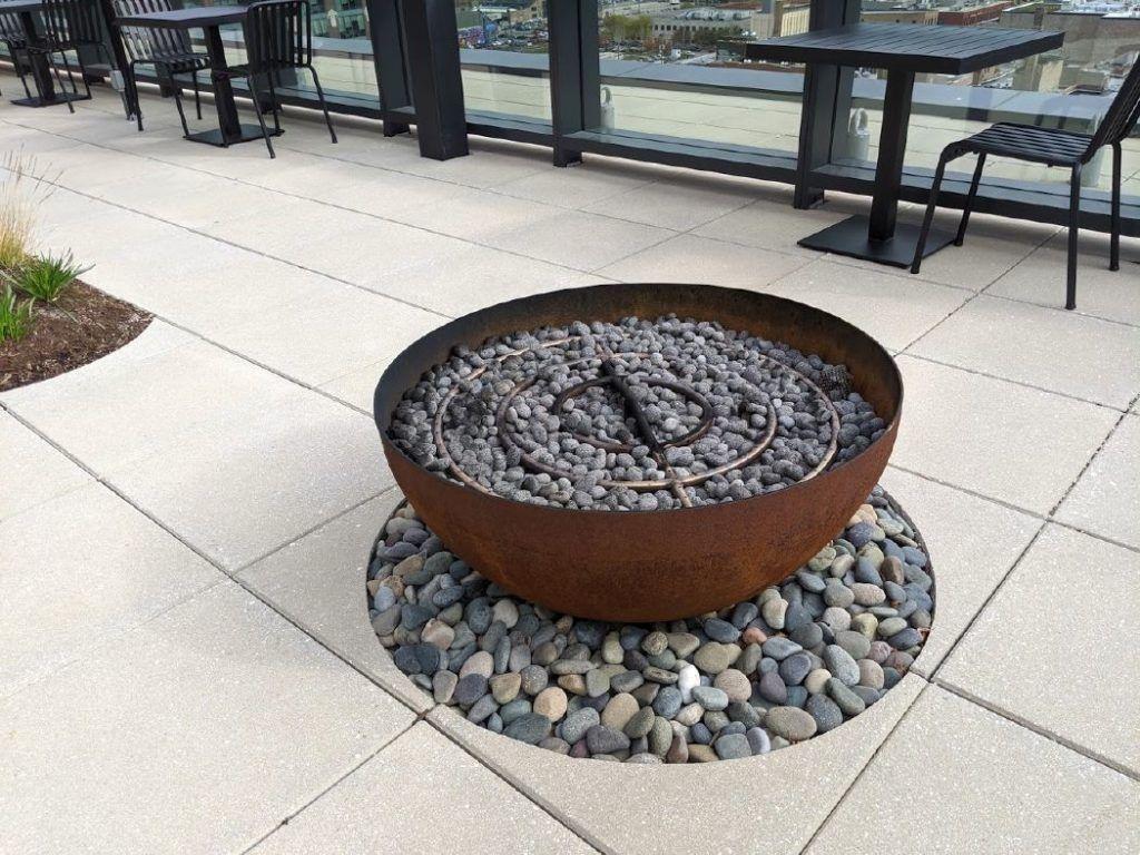 Big Bowl O' Zen fire bowl Google HQ Chicago roof deck