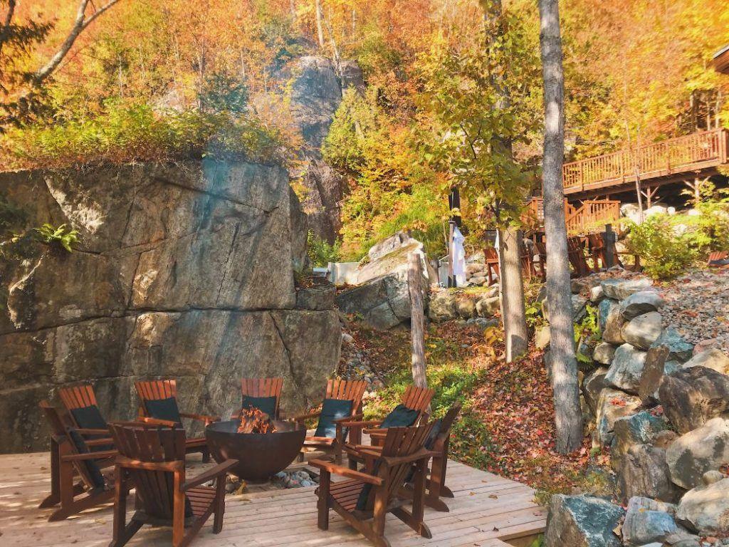 Big Bowl O' Zen Sculptural Firebowl at La Source Bains Nordiques, Rawdon, Quebec