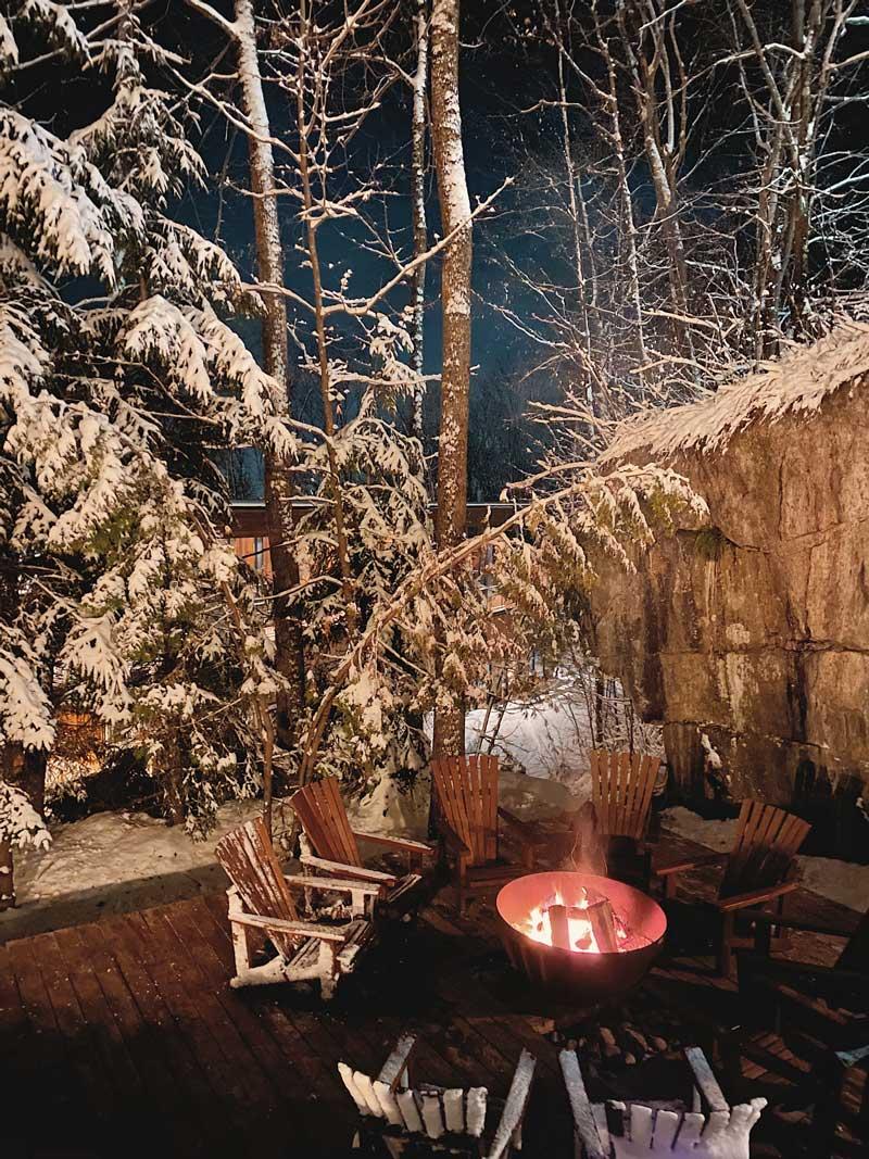 Big Bowl O' Zen Sculptural Fire pit dramatic winter lighting